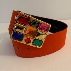 Vintage Escada Suede Belt with Jeweled Buckle